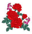 red roses and wild flowers and leaves in vintage vector image vector image