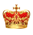 Royal gold crown with red precious stones vector image