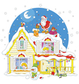 Santa on the housetop with gifts vector image vector image