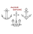 Sketches set of vintage boat anchors vector image