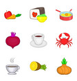 some food icons set cartoon style vector image vector image