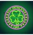 St Patricks Day Round Neon Sign vector image