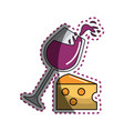 sticker glass splashing wine with cheese icon vector image vector image