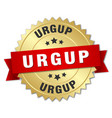 urgup round golden badge with red ribbon vector image vector image