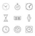 Watch icons set outline style vector image vector image