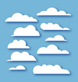 white clouds collection in paper cut style on blue vector image