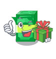 with gift stacks money dollar on bank character vector image