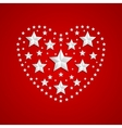 Heart symbol made of gray stars on red background vector image