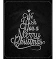 Christmas Tree Vintage Lettering Chalk Background vector image