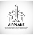 airplane plane airliner logotype isolated on white vector image