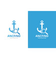 anchor and loupe logo combination marine vector image vector image