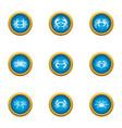arthropoda icons set flat style vector image vector image
