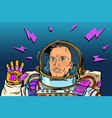 astronaut hello gesture vector image vector image