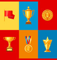 awards and trophy icons set vector image