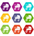 baby carriage family icons set 9 vector image vector image
