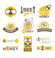 bee honey company promotional logotypes set with vector image vector image