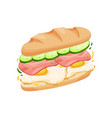 big sandwich made from halves long loaf vector image vector image