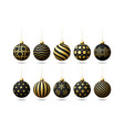 black and gold christmas tree toy oe balls set vector image vector image