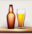 bottle of beer and glass with frothy drink vector image vector image