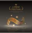 Camera film 35 mm roll gold festival movie vector image vector image