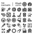 car parts glyph icon set auto details symbols