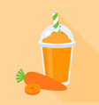 carrot smoothie or juice in plastic glass vector image vector image