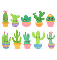 cartoon cactus cute succulent or cacti plant vector image vector image