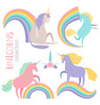 cartoon character unicorns and rainbows vector image vector image