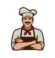 chief cook in cap symbol or logo restaurant food vector image