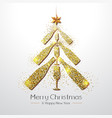 christmas poster with golden champagne glass and vector image vector image