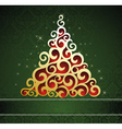 Christmas tree on green pattern background vector image