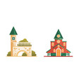 city or suburban buildings set church building vector image