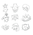 Cute cat icon set vector image