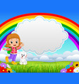 cute girl with dog in the park on rainbow day vector image vector image