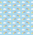 cute rainbows with clouds and stars pattern vector image vector image