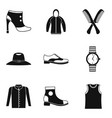 fashion accessory icons set simple style vector image