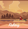 fishing concept fishing on the boat flat style vector image