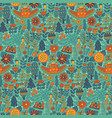 floral seamless pattern with forest owl vector image vector image