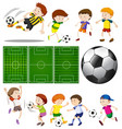 football players in different actions and vector image vector image