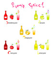 fresh juice - hand drawn fruits vector image