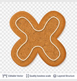 gingerbread letter x symbol with drop shadow vector image