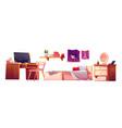girl bedroom interior set vector image vector image