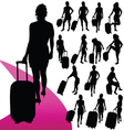 girl with a travel bag silhouette vector image