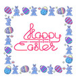 happy easter handwritten lettering with egg and vector image vector image