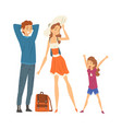 happy family travelling together mother father vector image vector image