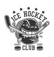 ice hockey sport club puck teeth break stick vector image
