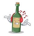 listening music wine bottle character cartoon vector image