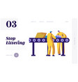 man separating litter and garbage on conveyor vector image vector image
