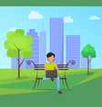 man sits on bench in city park with modern laptop vector image vector image