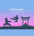 martial arts banner template with asian fighters